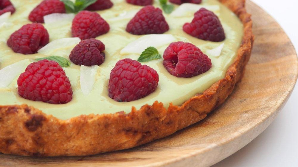 Ricetta Crostata Matcha, Cocco e Lamponi Senza Zuccheri Aggiunti